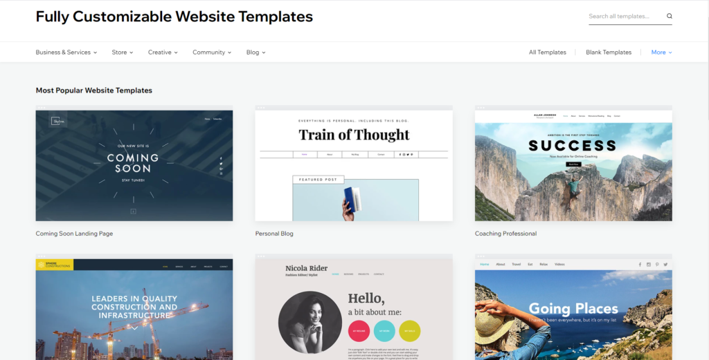 Template Library from Wix