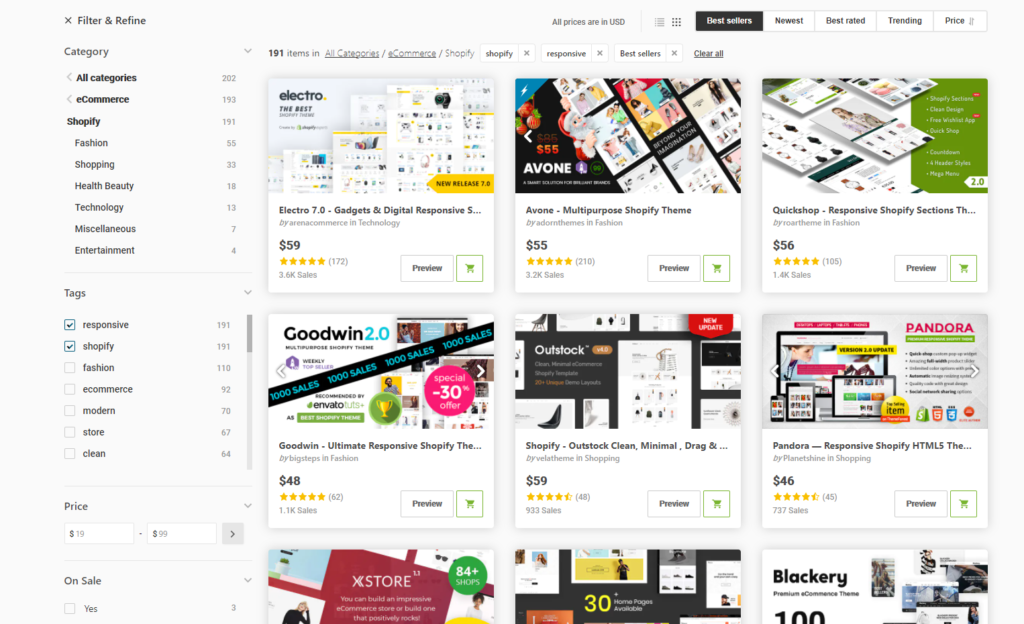 Shopify themes in themeforest