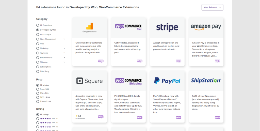 Extensions developed by WooCommerce